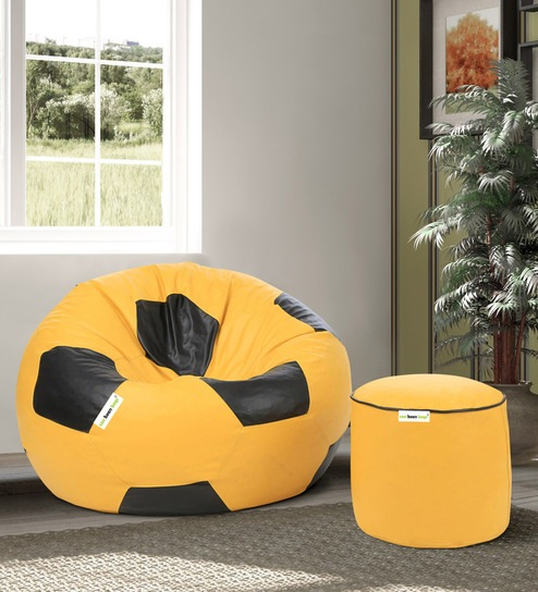 Awesome Combo Football Xl Bean Bag With Beans Filled Pouffee In Yellow Black Colour By Can Short Links Chair Design For Home Short Linksinfo